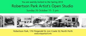 Copy of invitation to Robertson Park Artists Studio Open Day 26 October 2015